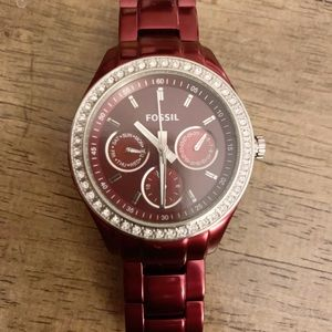 Red Linked Fossil Watch with Faux Diamond Rim